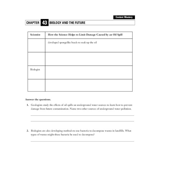 Biology and the Future Worksheet
