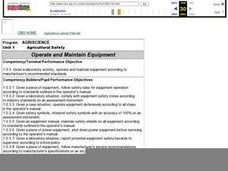 Operate and Maintain Equipment Lesson Plan