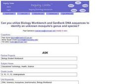 Can you utilize Biology Workbench and GenBank DNA sequences to identify an unknown mosquito's genus and species? Lesson Plan