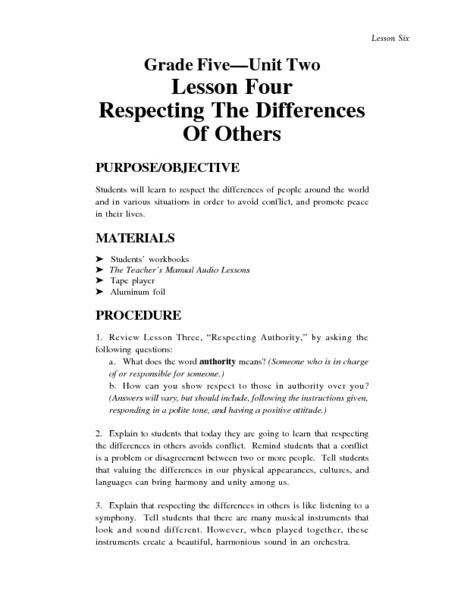 Respecting the Differences of Others Lesson Plan