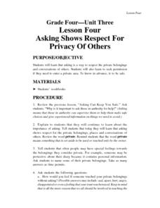 Asking Shows Respect for Privacy of Others Lesson Plan