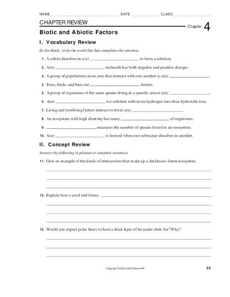 Biotic and Abiotic Factors Worksheet for 9th - 10th Grade ...