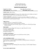 Substitute Lesson Plan: Physical Fitness in Students w/ Aphasia Lesson Plan