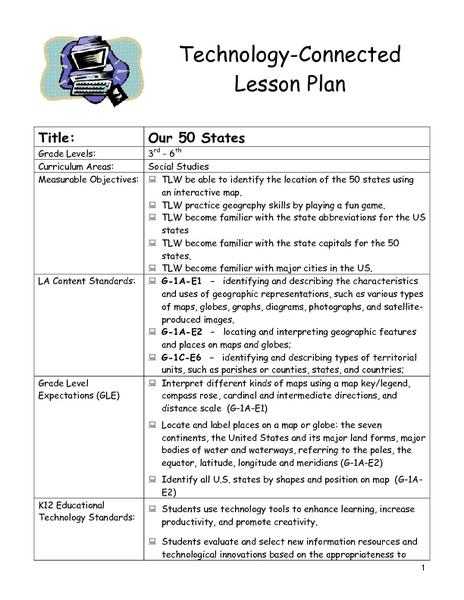 Our 50 States Lesson Plan Our 50 States Lesson Plan