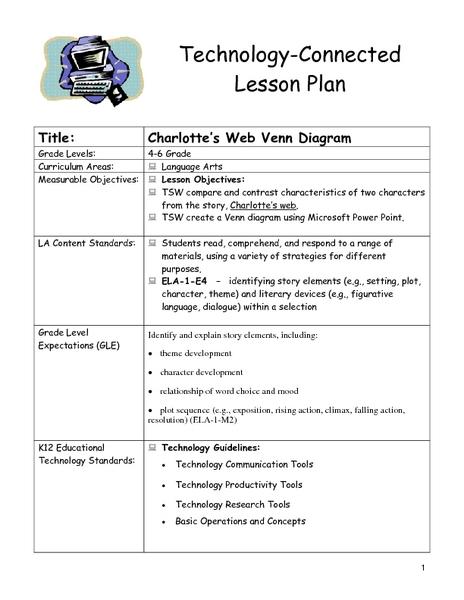 Charlotte U0026 39 S Web Venn Diagram Lesson Plan For 4th