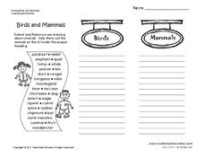 Birds and Mammals Worksheet