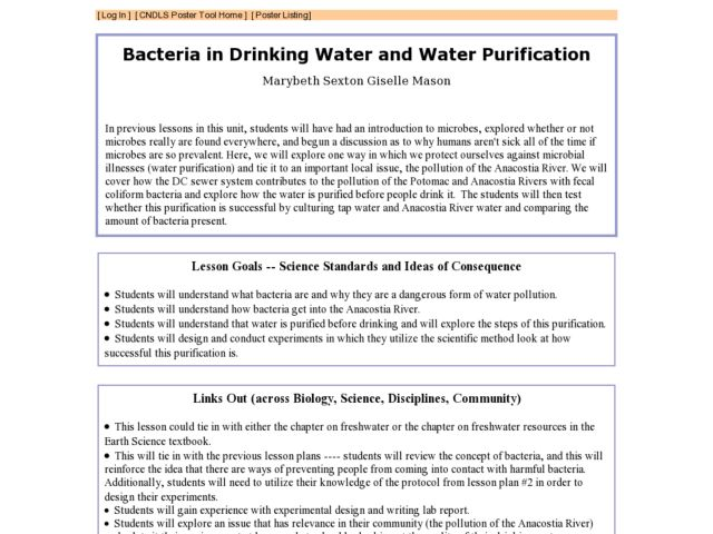 Bacteria in Drinking Water And Water Purification Lesson Plan
