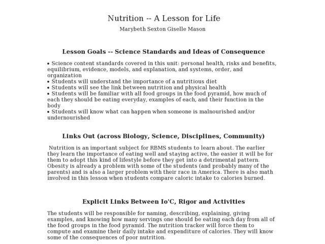 Nutrition -- A Lesson for Life - Biology Teaching Thesis Lesson Plan