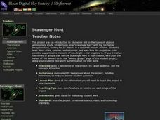 SkyServer Scanvenger Hunt Lesson Plan