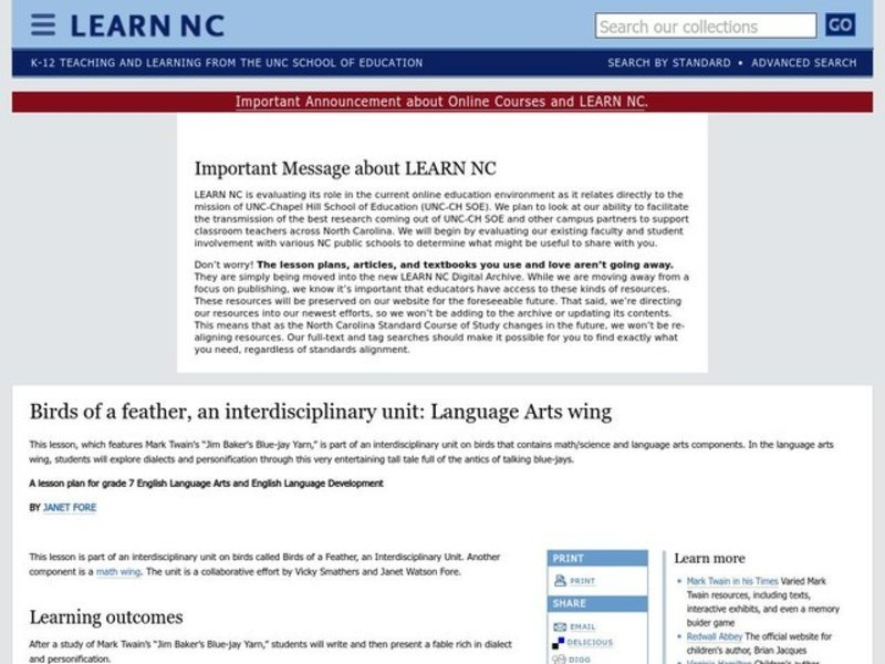 Birds of a Feather, An Interdisciplinary Unit: Language Arts Wing Lesson Plan