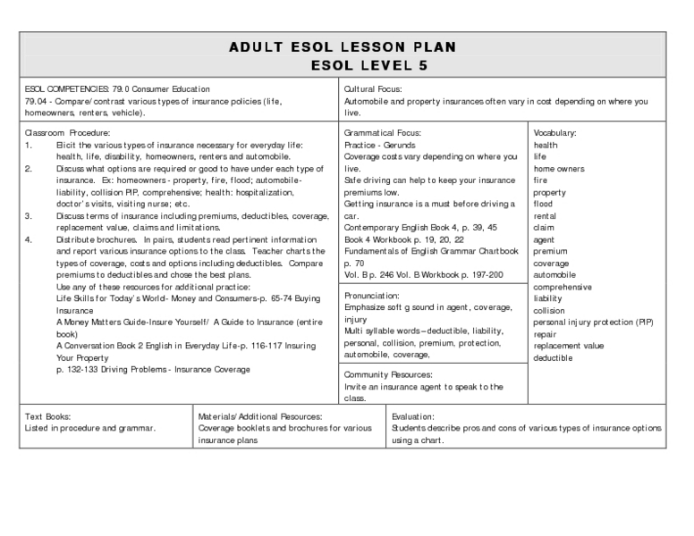 free english lesson plans for adults