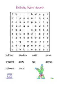 Birthday Word Search Worksheet