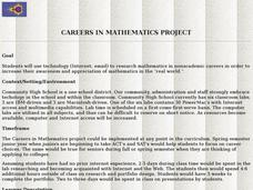 Careers in Mathematics Project Lesson Plan