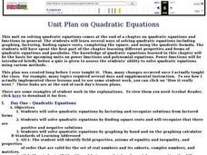 Unit Plan On Quadratic Equations Lesson Plan