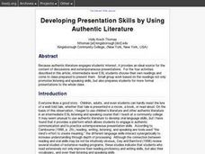 Developing Presentation Skills by Using Authentic Literature Lesson Plan