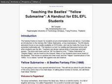 "Teaching the Beatles' ""Yellow Submarine"":A Handout for ESL/EFL Students Lesson Plan"