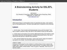 A Brainstorming Activity for ESL/EFL Students Lesson Plan