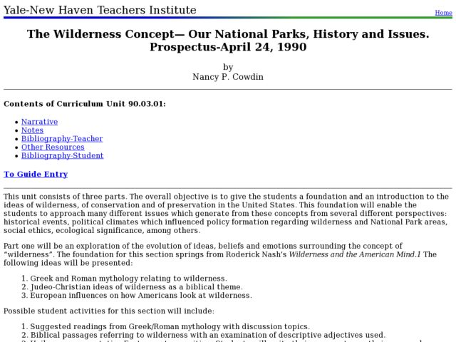 The Wilderness Concept: Our National Parks, History and Issues Lesson Plan