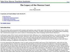 The Legacy of the Warren Court Lesson Plan