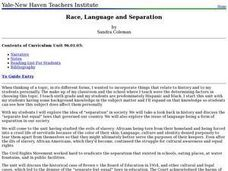 Race, Language and Separation Lesson Plan