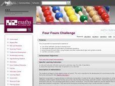 Four Fours Challenge Lesson Plan
