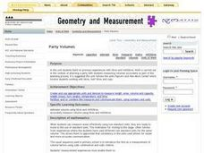 Party Volumes: Measurement Lesson Plan