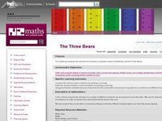 The Three Bears: Comparing and Ordering Lesson Plan