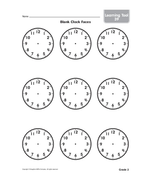 Blank Clock Faces Worksheet For 2nd 3rd Grade Lesson