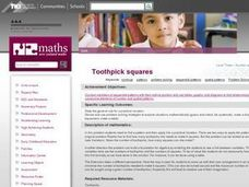 Toothpick squares Lesson Plan