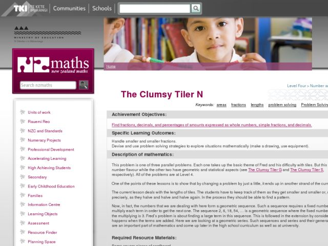 The Clumsy Tiler N (Fractions) Lesson Plan