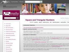 Square and Triangular Numbers Lesson Plan
