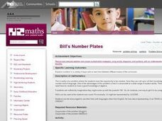 Bill's Number Plates Lesson Plan