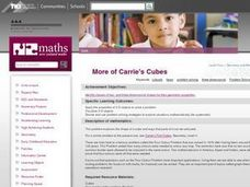 More of Carrie's Cubes Lesson Plan