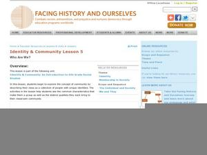 Who Are We? Lesson Plan