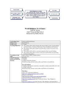 World Religion At A Glance Lesson Plan