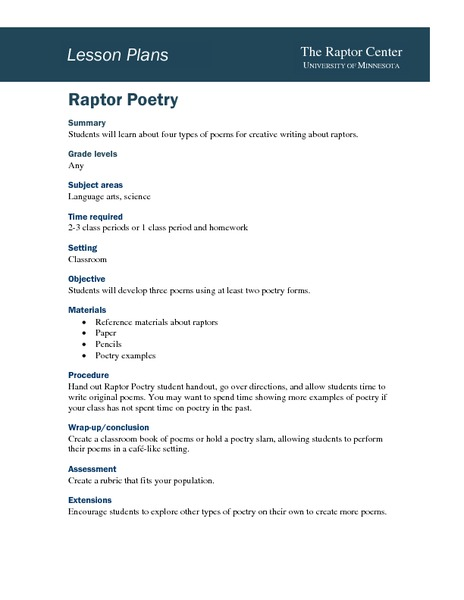 Raptor Poetry Lesson Plan for 3rd - 9th Grade | Lesson Planet