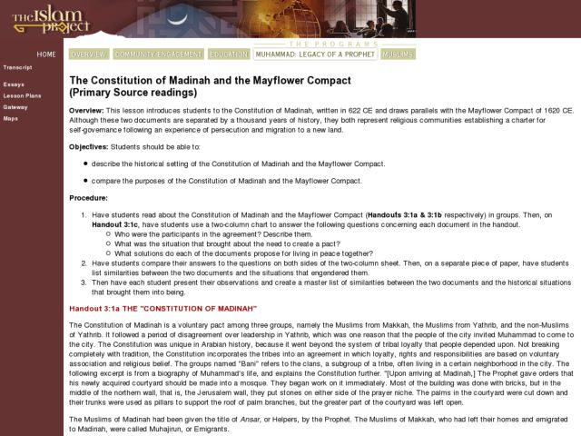 The Constitution Of Madinah And The Mayflower Compact Lesson Plan