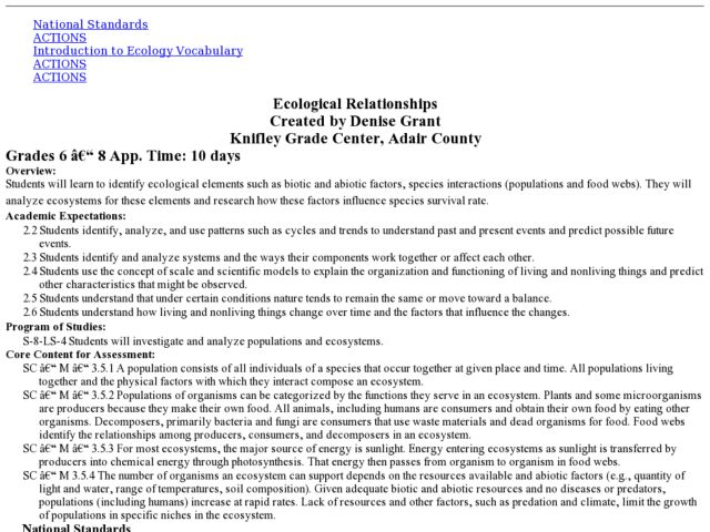 Ecological Relationships 6th - 8th Grade Lesson Plan   Lesson Planet