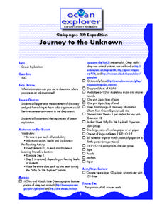 Journey To the Unkown Lesson Plan