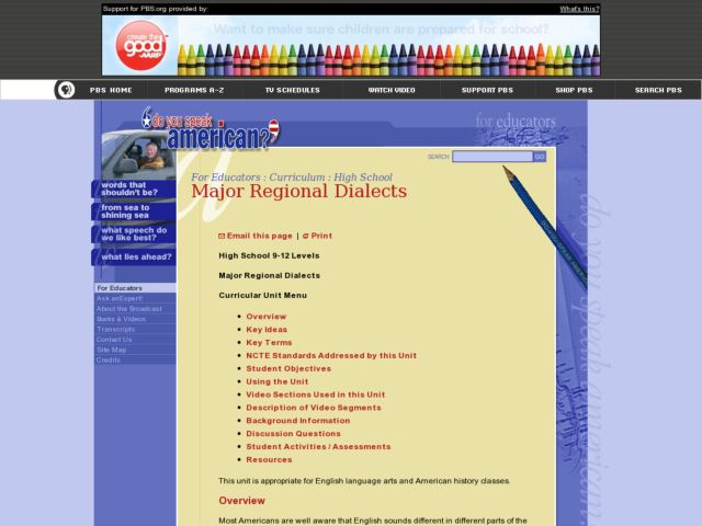 Major Regional Dialects Lesson Plan