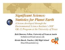 Significant Science: Statistics for Planet Earth Lesson Plan