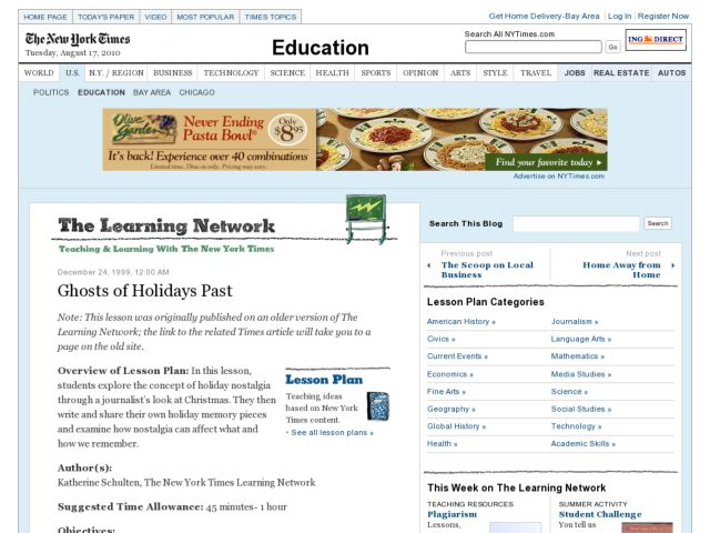 Ghosts of Holidays Past Lesson Plan