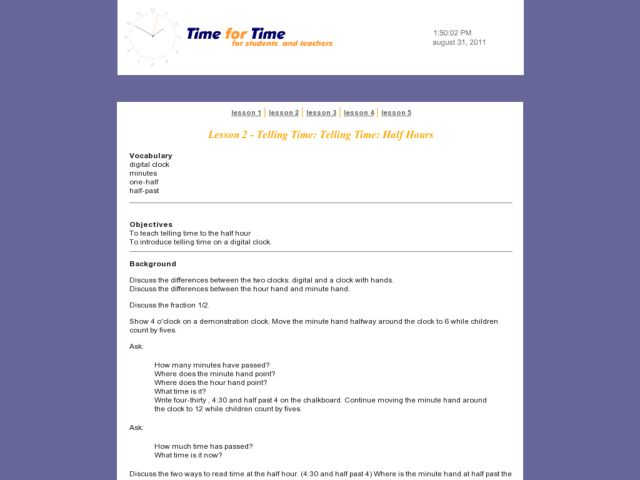 Telling Time: Telling Time: Half Hours Lesson Plan
