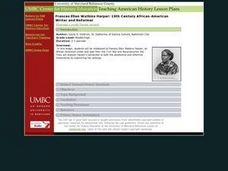 Frances Ellen Watkins Harper: 19th Century African-American Writer and Reformer Lesson Plan