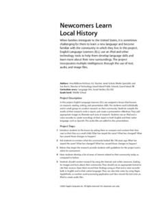 Newcomers Learn Local History Lesson Plan