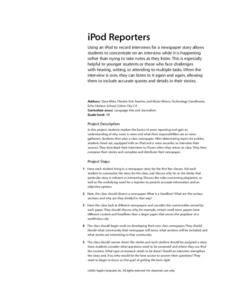 iPod Reporters Lesson Plan