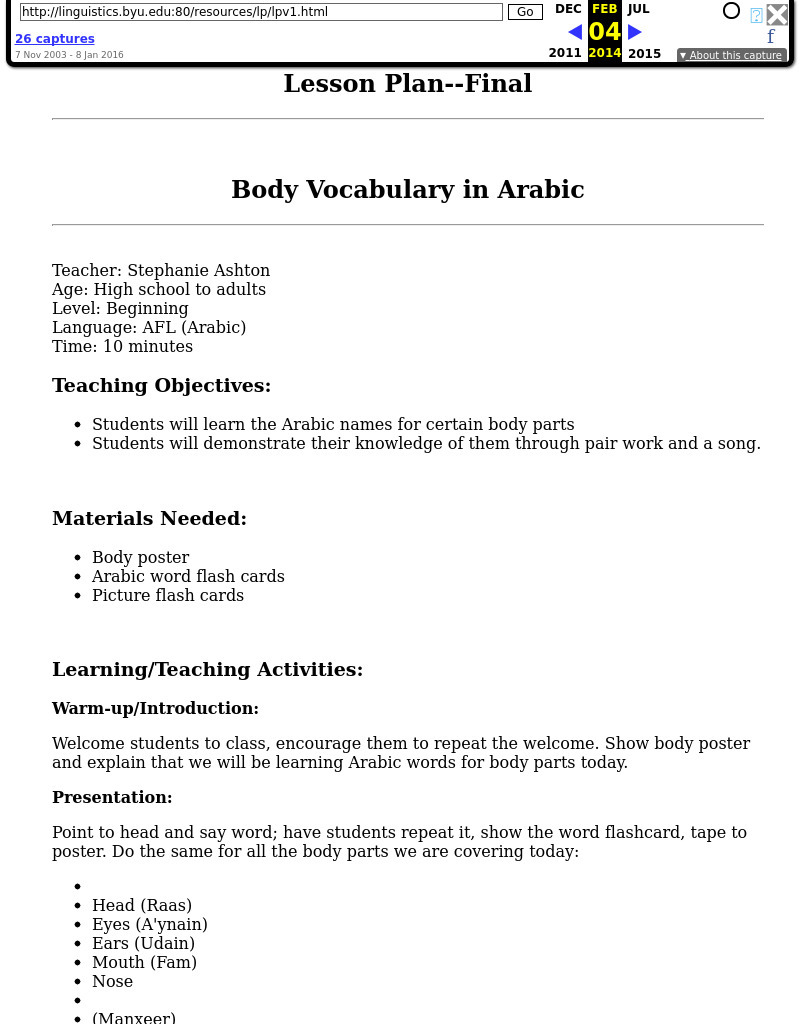 Body Vocabulary in Arabic Lesson Plan