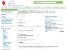 Alphabetizing Words Beginning with A and B Lesson Plan