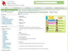 Beginning Multiplication Worksheet - Part Two Lesson Plan