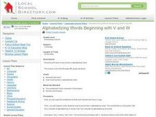 Alphabetizing Words Beginning with V and W Lesson Plan